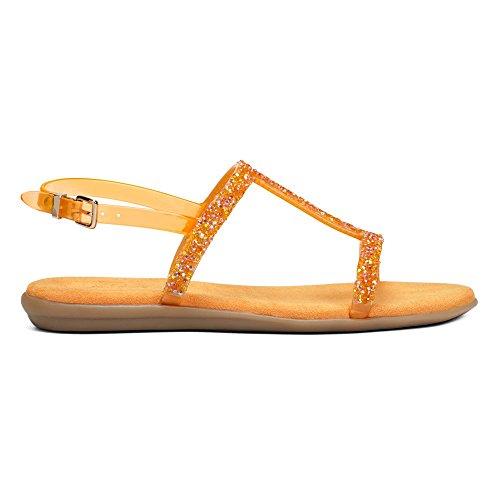 Aerosoles Good Chlue Offener Spitze Synthetik Slingback Sandale Light Orange Combo