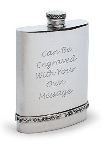 personnalisé en étain 170,1gram Flasque avec bande celtique faite à la main–gravé avec vos informations