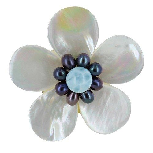 Schmuck Les Poulettes - Brosche Elfenbein Perlmutt Blume Keshi Perlen und Larimar