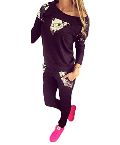 Baymate Donna 2 Pezzi Tuta Da Ginnastica Jogging Tuta Sportiva Pullover Felpa Fitness Felpa Top e Pantaloni Nero