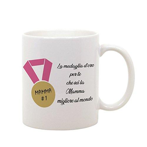 Tazza mug in ceramica festa della mamma la medaglia d'oro per te che sei la mamma migliore al mondo - happy mother's day - humor - idea regalo