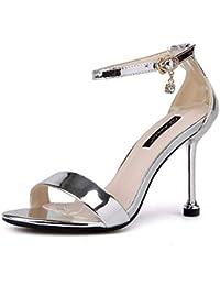 GTVERNH Zapatos de Mujer En Verano La Hebilla El Gato Y El Gato La Niña  Dulce Los 9 Cm Zapatos De Tacon Alto Sandalias… 58e5c4ab3b45