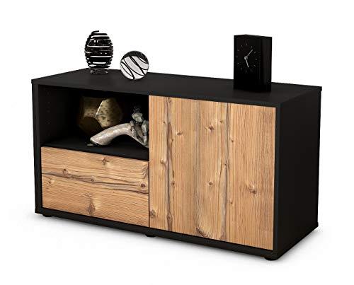 Stil.Zeit Möbel TV Schrank Lowboard Adrina, Korpus in Anthrazit Matt/Front im Holz Design Pinie (92x49x35cm), mit Push to Open Technik und Hochwertigen Leichtlaufschienen, Made in Germany