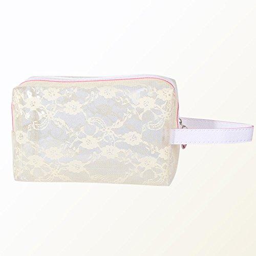 Estee Lauder Tasche (Thinkmax Kosmetiktaschen Damen Travel Make-up Tasche Spitze bedruckt PVC transparent Wasserdicht Baden Tasche für beige)