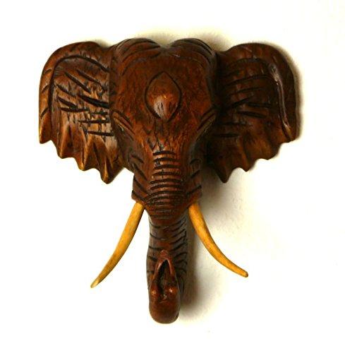 Kleiner, afrikanischer Elefantenkopf aus Holz, Holzelefant, Deko Elefant in Handarbeit