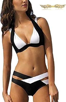 BYD Mujeres Bikinis Conjuntos Push Up Bañador Cruz Blanco y Negro Ropa de baño 2pcs Tops + Shorts