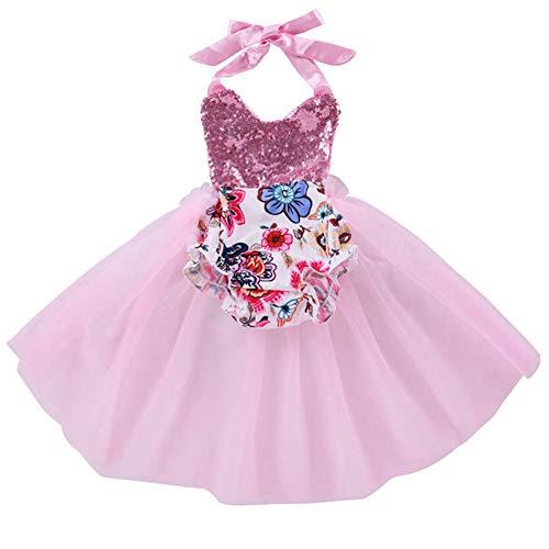 QUNSHIANK Mädchen Partykleid Sparkle Strampler Kleid Neugeborenes Kleinkind Baby Mädchen Partei Spitze Tutu Abendkleider Rosa (größe : 100cm)