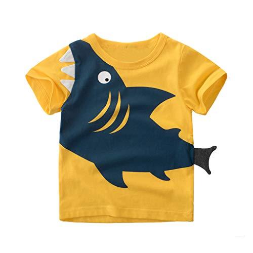 Cuteelf Jungen Kurzarm Cartoon Shark Tops T-Shirt Kinderbekleidung Jungen Cartoon Shark Kurzarm T-Shirt Tops Spaß 10D Schwanz und Zähne Niedlich Beiläufige Lose Runde Kragen Kapuze
