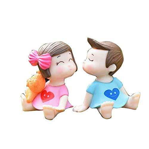 Windy5 Sweety-Liebhaber Kuss Paar DIY Ornament Puppe Hochzeit Start Klein Dekoration Kuchen DIY Mikro Landschaft Figurinen (Mikro-start)