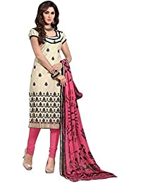 Regalia Ethnic Women's Cotton Dress Material (MFRE129_Free Size_Cream)