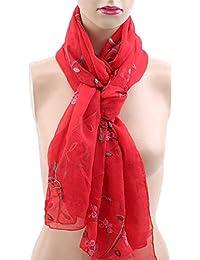 bb86efe2ec3 Winwinfly Longue écharpe pour femme Echarpes en soie synthétique avec  broderies douces Châle Vêtements Accessoire
