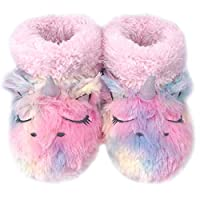 Dream Bridge Kids Plush Slippers Fluffy Boots for Girls Colourful Unicorn