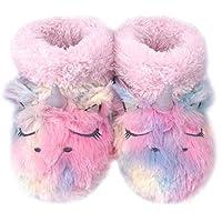 Dream Bridge Kids Plush Slippers Fluffy Boots for Girls Colourful Unicorn