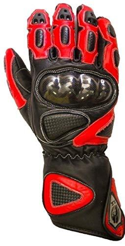 BIESSE - Guanti da Moto in Pelle, Protezioni in Fibra di Carbonio shock absorber, Traspiranti, Prese Area (nero/rosso, L)