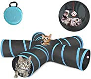 لعبة للقطط تتكون من 5 انفاق قابل للتوسيع والطي محمولة ومتينة مع جرس هدية مناسبة للحيوانات الاليفة