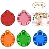 LABOTA 5 Cubiertas de silicona para latas de mascotas para Perros Gatos Almacenamiento de los Alimentos Tin Cap - 3 Tamaño