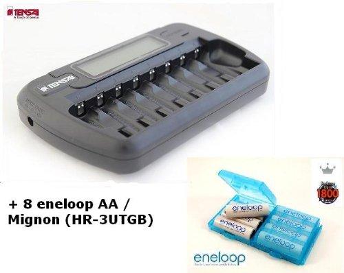Tensai TI-800L - Caricatore microprocessore per 1-8 batterie AA / AAA con LCD & Adattatore Auto (12V) + 8 x eneloop AA / Mignon Batterie