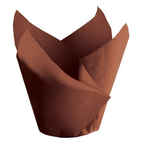 """Hoffmaster 611119 Tulip Cup Cupcake Wrapper/Baking Cup, 2-1/4"""" Diameter x 4"""" Height, Large, Chocolate (Case of 1000) by Hoffmaster"""