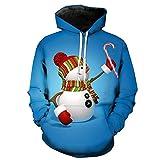 NINGSANJIN Unisex Weihnachtspullover Horror Film Clown Hoodie 3D Skull Sweatshirt EUR Plus Größe Cosplay Sportswear Trainingsanzug Herren Damen Unisex Pullover (Blau,L)