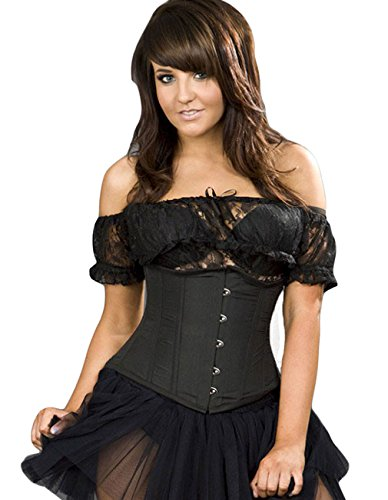 Burleska Vintage da donna mezzobusto-Candy Taffeta Taillen corsetto Nero nero 52