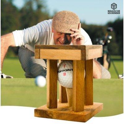 Woods Handicap - Das Golfrätsel - Knobelspiele aus Holz inkl. Golfball – Lustige Golf Geschenke - Geschenke für Golfer – Golfball Geschenk – Geschenkpackung für ganz besondere Golfbaelle