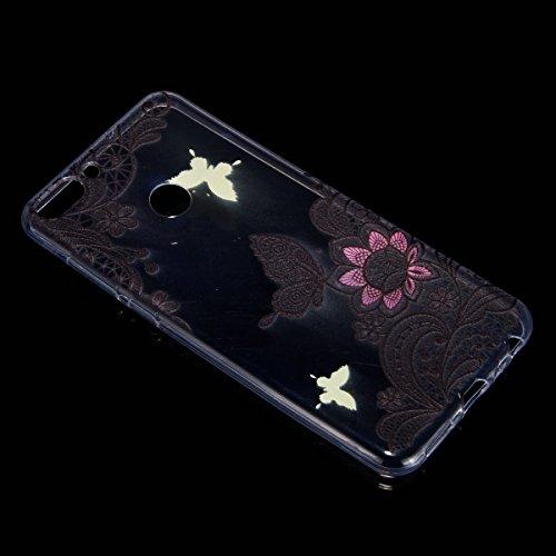 Coque Huawei Enjoy 7S,Étui Huawei P Smart,Surakey Huawei Enjoy 7S / Huawei P Smart Coque Transparente Silicone Gel TPU Souple Housse Etui de Protection Bumper avec Absorption de Choc et Anti-Scratch avec Dessin de Belle Fleur Papillon et Animaux Mignons Etui de Protection Cas en caoutchouc Premium Crystal Clear Flex Soft Touch Skin Ultra Mince Slim Téléphone Couverture TPU Case Coque Housse Étui pour Huawei Enjoy 7S / Huawei P Smart - Fleur de Dentelle