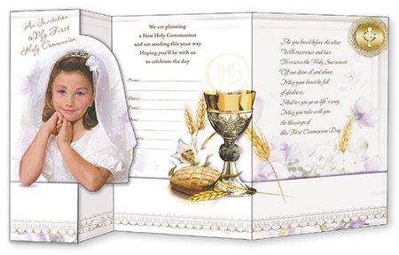 Just Divine Gifts 12Stück Girl 's Erstkommunion Einladungen/lädt doppelt gefaltete Gold Print c27922