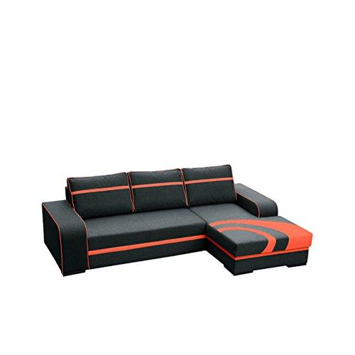 Mirjan24  Ecksofa Flores, Couch mit Bettkasten und Schlaffunktion, Couchgarnitur, Polsterecke, Eckcouch, Design Schlafsofa (Ecksofa Rechts, 3. Inari 100 + HC51)