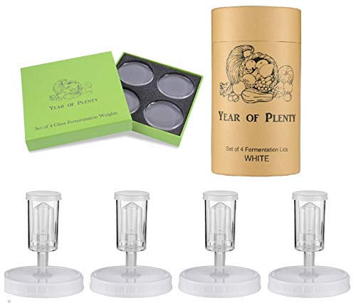 Year of Plenty Fermenting Kit - Set Of 4 Fermentation Weights And 4 White Airlock Lids For Making Sauerkraut In Wide Mouth Mason Jars (White) -