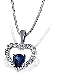 Goldmaid Damen-Herz-Halskette Herz 375 Weißgold 1 blauer Safir 17 Diamanten Herzanhänger Diamantkette