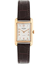 Rotary Watches Portland Women's Quartz Watch with White Dial Analogue Display and Brown Leather Strap LS02699/01
