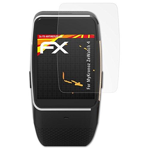 atFoliX Schutzfolie kompatibel mit MyKronoz ZeWatch 4 Bildschirmschutzfolie, HD-Entspiegelung FX Folie (3X)