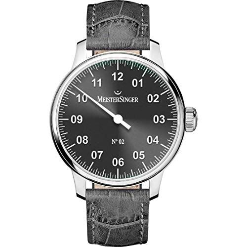 Meistersinger Men's No 2 43mm Alligator Leather Band Automatic Watch AM6607