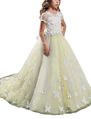 Beyonddress Mädchen Hochzeit Fest Blumenmädchen Kleider Bodenlanges Kinderkleid Kommunionkleid Ballkleid Partyskleid mit Ärmeln(Narzisse,3-4 (Daffodil Kostüme)
