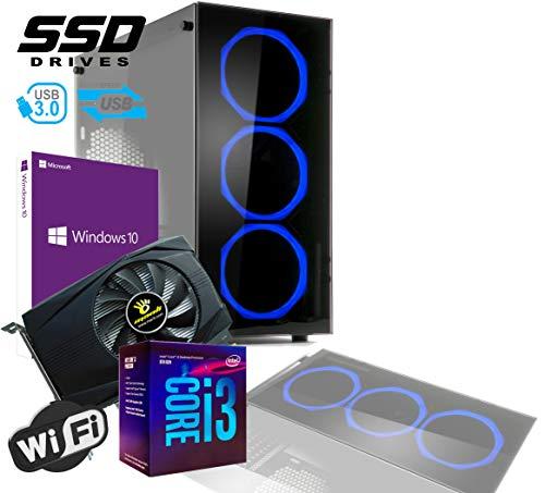 PC DESKTOP GAMING INTEL QUAD CORE I3-8100 UP TO 3,6 GHZ/CASE IN VETRO MYKA CRISTAL ZAFIR CON 3 VENTOLE HALO BLU/VGA GTX 1050TI 4GB /MB HDMI VGA DVI/RAM 16Gb DDR4/SSD 480GB /WIFI 300MB/WINDOWS 10 PRO