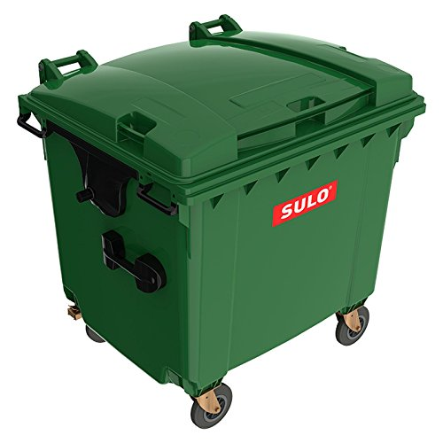 *SSI Schäfer Kunststoff-Großmüllbehälter, nach DIN EN 840 – Volumen 1100 l – grün – Abfalltonne Müllcontainer Müllkübel Müllsammler Mülltonne*