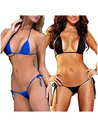 4987d325ca97d SheTalks Women's Polyester Micro Thong G String Brazilian Mini Top Bra Bikini  Swimsuit Swimwear Set of