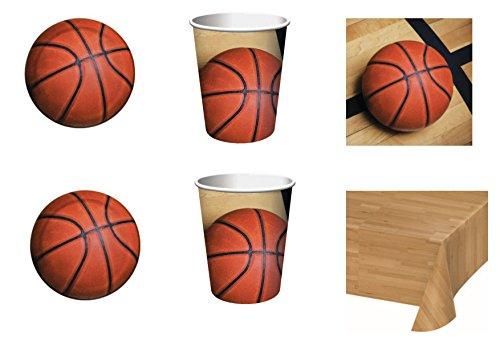 Sport Basketball für Geburtstag Ereignisse Dekorationen Tisch Party-Kit N ° 6cdc- (8Teller, 8Becher, 18Servietten, 1Tischdecke) ()