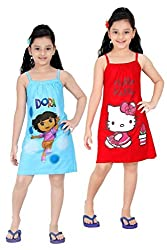 Red Rose Girls Cotton Printed Slip - Pack of 2 Size 22