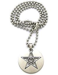 Superbe collier de ton argent à pendentif d'étoiles dans une médaille, chaîne à balles en acier inoxydable l.2 mm L.61 cm