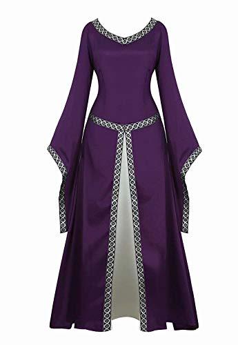 aizen Mittelalter Kleid Renaissance mit Trompetenärmel Party Kostüm bodenlang Vintage Retro Costume Cosplay Damen Lila L