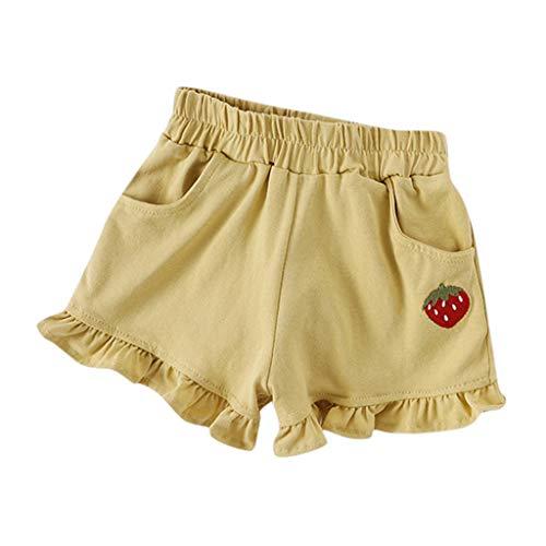 iHAZA Sommer Kinder Baby Mädchen Bonbonfarben Rüschen Shorts Elastische Taille Hosen Taille Blouson