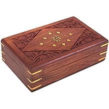 Intagliato a mano in legno Elegante gingillo decorativi Jewellery Box (20.32 X 12,7 X 6,3) cm con Mughal Ispirato floreale Sculture & Brass Inlay
