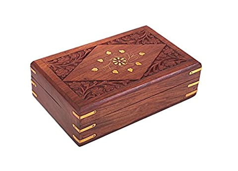 Store Indya Elegant Hand Carved Jewellery Box Wooden Decorative Trinket (20.32 X 12.7 X 6.3) Cm With Mughal Inspired Floral Carvings and Brass Inlay