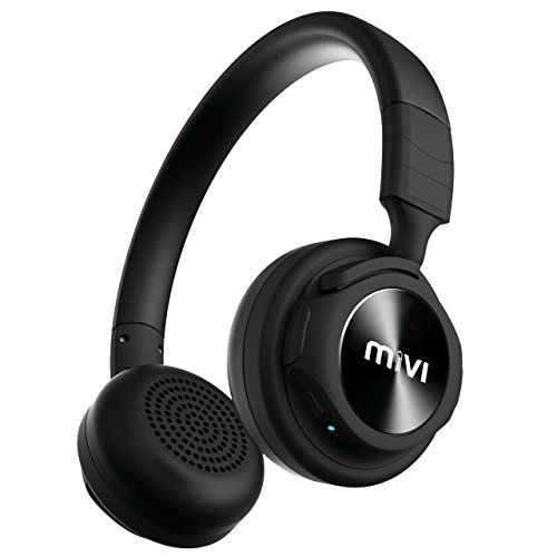 Mivi SAXO Wireless Bluetooth Headphones With Hands Free Mic, Stereo Sound, Thumping Bass (Jet Black)