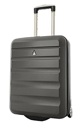 Aerolite ABS massimo Ryanair trolley bagaglio a mano valigia rigida 55x40x20 con 2 ruote, grigio carbone