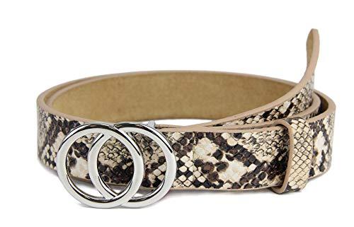 irisaa Schmaler Damen Gürtel mit runder Metallschnalle zwei Ringen, 2,8 cm breit und 0,4 cm stark, Länge:90, Farbe:SandSnake mit Silberring