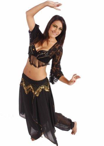 Miss Bauchtanz Belly Dance Lace Top, Rock & Hip Schal Kostüm-Set | Kira 's Song, schwarz, D Cup (Rock Lace Dance)