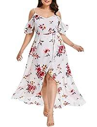 Damen Grosse Grössen Beiläufiges Kurzarm Schulterfrei Boho Blumendruck  Langes Kleid Strandkleider Sommerkleid Knielang d0f468d345