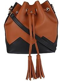 Fur Jaden Tan Ladies Bucket Tote Handbag For Woman